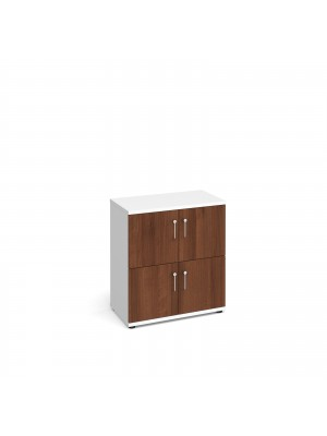 Wooden storage lockers 4 door - white with walnut doors