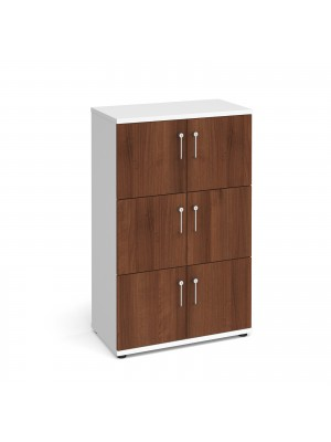 Wooden storage lockers 6 door - white with walnut doors
