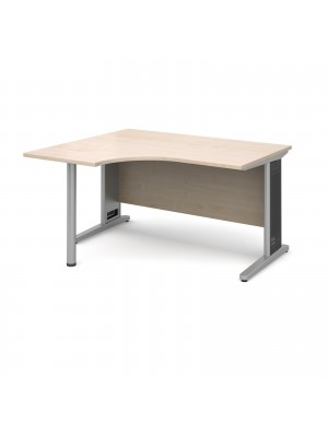 Largo left hand ergonomic desk 1400mm - silver cantilever frame with removable grill, maple top