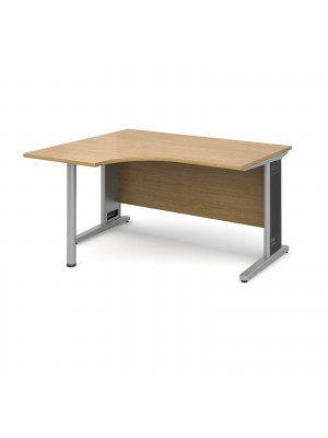 Largo left hand ergonomic desk 1400mm - silver cantilever frame with removable grill, oak top