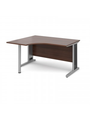 Largo left hand ergonomic desk 1400mm - silver cantilever frame with removable grill, walnut top