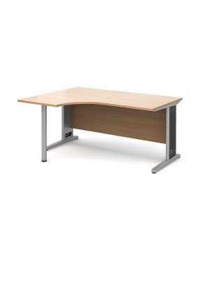 Largo left hand ergonomic desk 1600mm - silver cantilever frame with removable grill, beech top