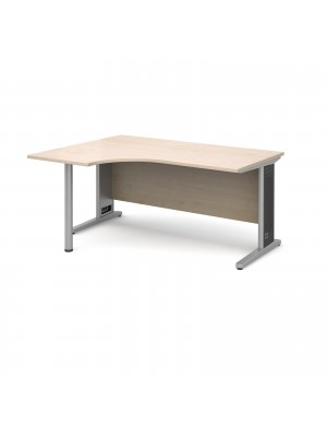 Largo left hand ergonomic desk 1600mm - silver cantilever frame with removable grill, maple top