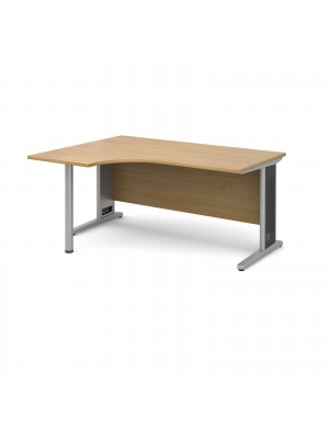 Largo left hand ergonomic desk 1600mm - silver cantilever frame with removable grill, oak top