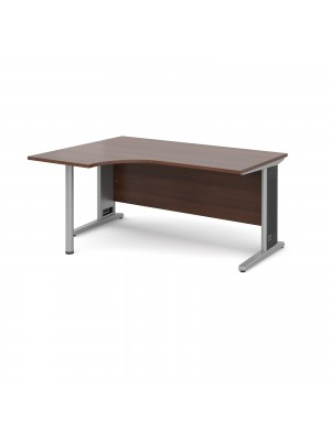 Largo left hand ergonomic desk 1600mm - silver cantilever frame with removable grill, walnut top