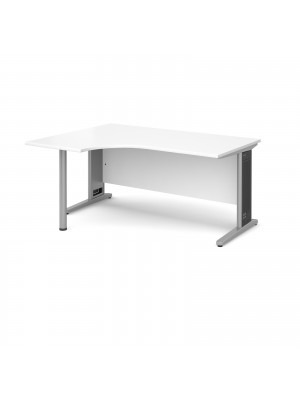 Largo left hand ergonomic desk 1600mm - silver cantilever frame with removable grill, white top