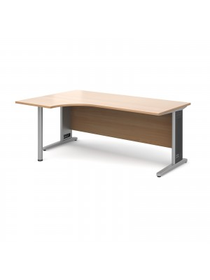 Largo left hand ergonomic desk 1800mm - silver cantilever frame with removable grill, beech top