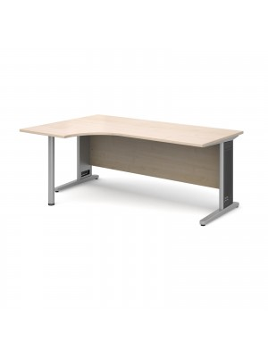 Largo left hand ergonomic desk 1800mm - silver cantilever frame with removable grill, maple top