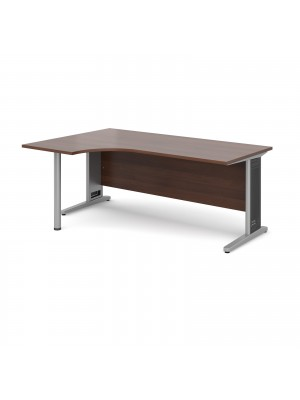 Largo left hand ergonomic desk 1800mm - silver cantilever frame with removable grill, walnut top