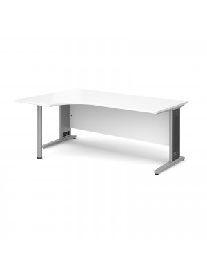 Largo left hand ergonomic desk 1800mm - silver cantilever frame with removable grill, white top