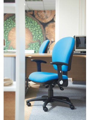 Lento high back operator chair with fixed arms - charcoal