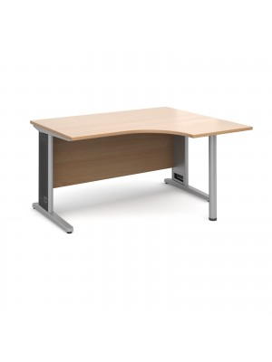 Largo right hand ergonomic desk 1400mm - silver cantilever frame with removable grill, beech top