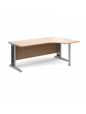 Largo right hand ergonomic desk 1800mm - silver cantilever frame with removable grill, beech top