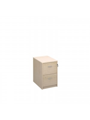 Deluxe 2 drawer filing cabinet with silver handles 730mm high - maple