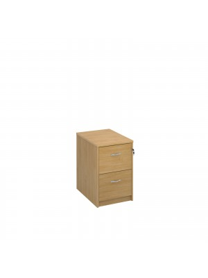 Deluxe executive two drawer filing cabinet with anti-tilt, supplied with silver handles and accepts foolscap only, in oak