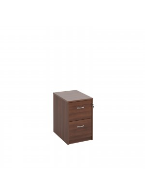 Deluxe 2 drawer filing cabinet with silver handles 730mm high - walnut