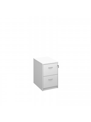 Deluxe 2 drawer filing cabinet with silver handles 730mm high - white