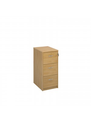 Deluxe 3 drawer filing cabinet with silver handles 1045mm high - oak