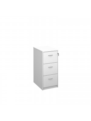 Deluxe 3 drawer filing cabinet with silver handles 1045mm high - white
