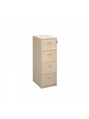 Deluxe 4 drawer filing cabinet with silver handles 1360mm high - maple