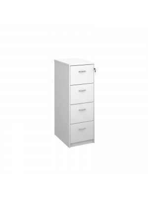 Deluxe 4 drawer filing cabinet with silver handles 1360mm high - white