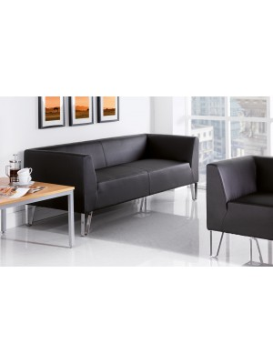 Linear reception 2 seater chair 1340mm wide - black faux leather
