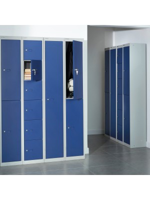 Bisley lockers with 6 doors 305mm deep - grey