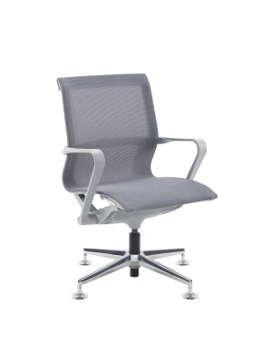 Lola medium back designer visitors chair with grey mesh, grey frame and aluminium 4 star glides