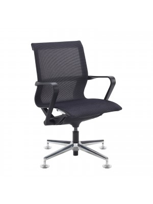 Lola medium back designer visitors chair with black mesh, black frame and aluminium 4 star glides
