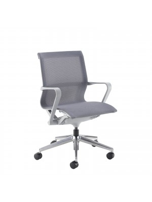 Lola medium back designer operators chair with grey mesh, grey frame and aluminium base
