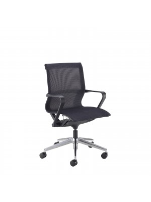 Lola medium back designer operators chair with black mesh, black frame and aluminium base