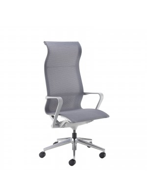 Lola high back designer operators chair with grey mesh, grey frame and aluminium base
