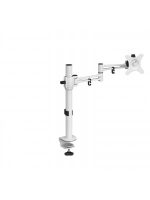 Luna single flat screen monitor arm - white