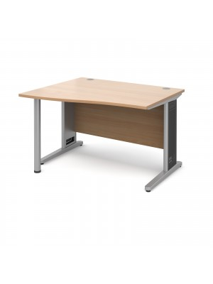 Largo left hand wave desk 1200mm - silver cantilever frame with removable grill, beech top