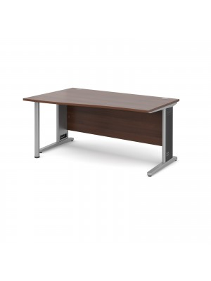 Largo left hand wave desk 1600mm - silver cantilever frame with removable grill, walnut top