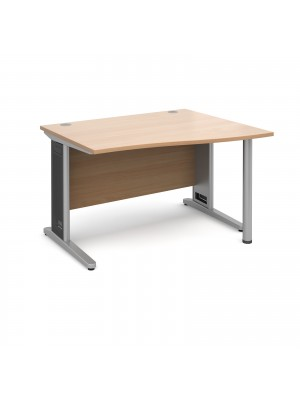 Largo right hand wave desk 1200mm - silver cantilever frame with removable grill, beech top