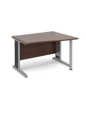 Largo right hand wave desk 1200mm - silver cantilever frame with removable grill, walnut top
