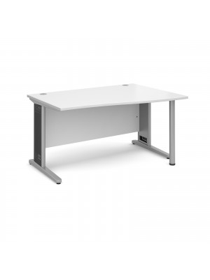 Largo right hand wave desk 1400mm - silver cantilever frame with removable grill, white top