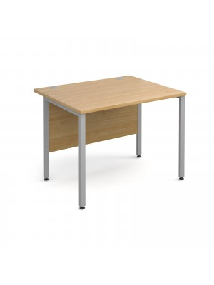 Maestro 25 SL straight desk 1000mm x 800mm - silver H-Frame, oak top