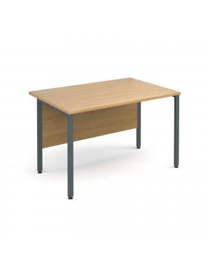 Maestro 25 GL straight desk 1200mm x 800mm - graphite H-Frame, oak top