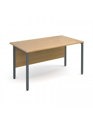 Maestro 25 GL straight desk 1400mm x 800mm - graphite H-Frame, oak top