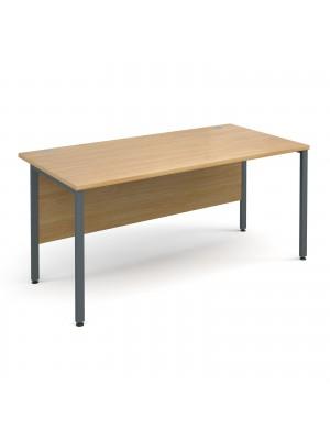 Maestro 25 GL straight desk 1600mm x 800mm - graphite H-Frame, oak top