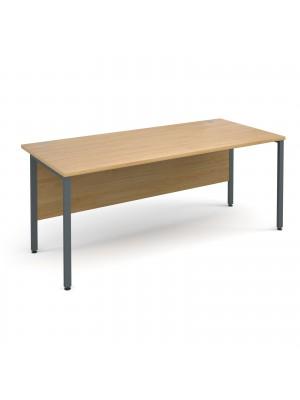 Maestro 25 GL straight desk 1800mm x 800mm - graphite H-Frame, oak top