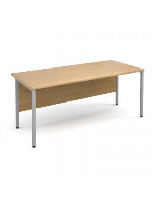 Maestro 25 SL straight desk 1800mm x 800mm - silver H-Frame, oak top