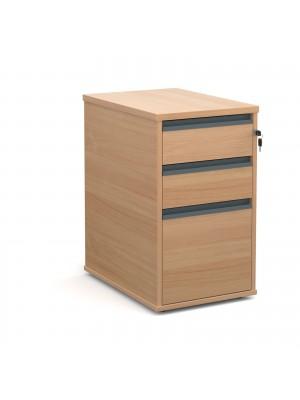 Desk high 3 drawer pedestal with graphite finger pull handles 600mm deep - beech