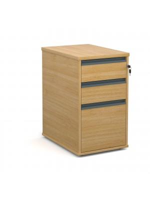 Desk high 3 drawer pedestal with graphite finger pull handles 600mm deep - oak