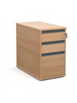 Desk high 3 drawer pedestal with graphite finger pull handles 800mm deep - beech