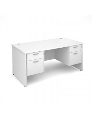 Maestro 25 PL straight desk with 2 and 2 drawer pedestals 1600mm - white panel leg design
