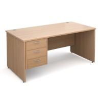 Maestro 25 PL straight desk with 3 drawer pedestal 1600mm - beech panel leg design