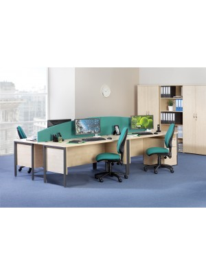 Maestro 25 GL left hand ergonomic desk 1400mm - graphite cantilever frame, beech top
